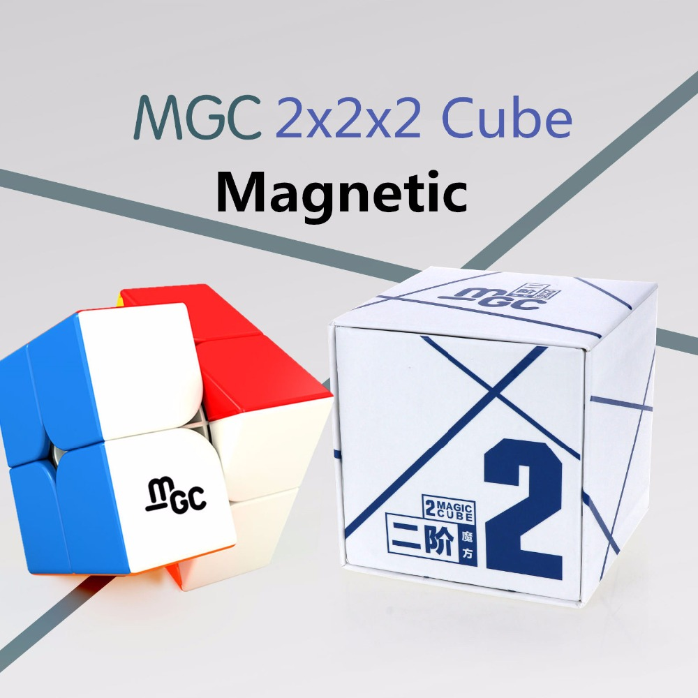 Yongjun MGC 2x2x2 Magnetic Magic Cube Black Stickerless Professional YJ MGC Puzzle 2x2 Magnets Speed Cube Educational Toys