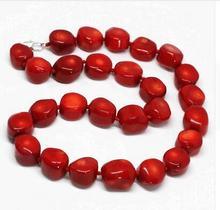 цена на Women jewelry choker anime gem chocker Newly red natural coral irregular beads 9-13mm fashion women necklace