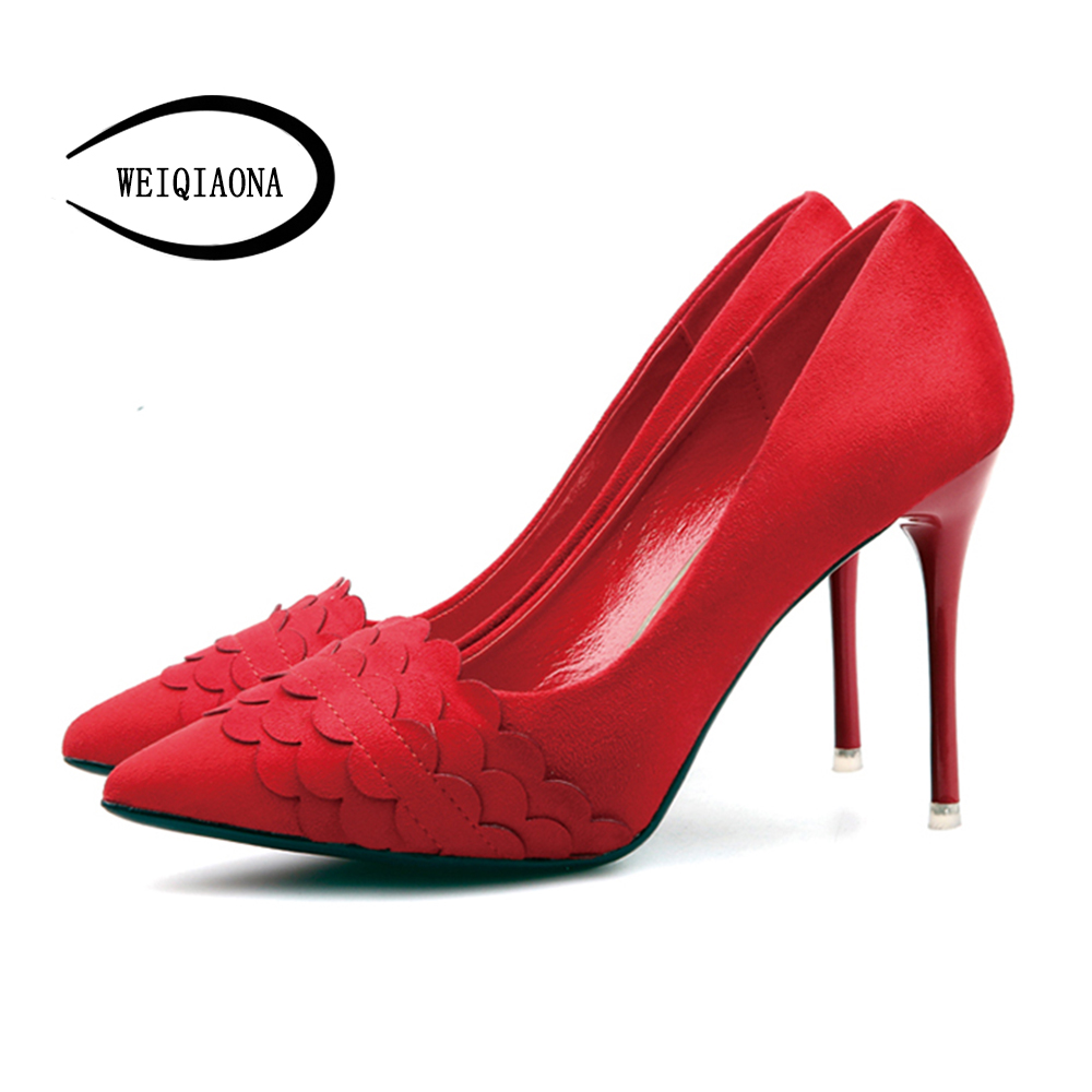 WEIQIAONA New Women Pumps shallow Thin high heels Elegant Sexy Pointed toe with Ruffles wedding shoes Female Single Shoes fashion female shallow mouth high heels pointed toe single shoes sexy hollow stilettos women concise party thin pumps 6 colors