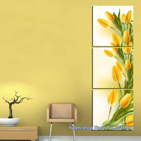Square Diamond Needle Arts And Crafts Full Diamond Embroidery Handworked Diamond Painting Yellow Tulip Triptych Home