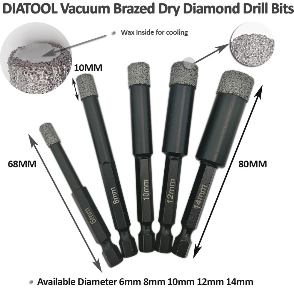 DIATOOL 3pcs 6mm + 8mm + 10mm Bits de base de diamant brasés sous - Foret - Photo 3