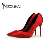 Wedding shoes Red Women Pumps 10cm 6cm Heels Quality Silk Material Thin Point Toe Shoes plus Size 35 44 Party high heels D01 C