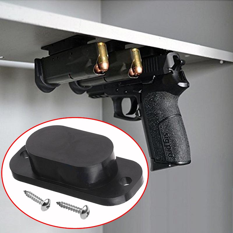 Magnetic Concealed Gun Pistol Holder Holster Under Desk Table Door Bed Magnet Gun magnet Hunting Accessories Black Free Shipping body jewelry