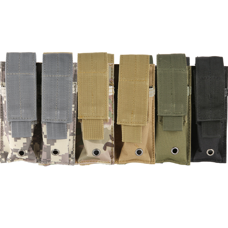 600D 9MM  Molle Nylon Tactical Dual Double Pistol Mag Magazine Pouch Close Holster Combat Military Hunting Outdoor Accessories