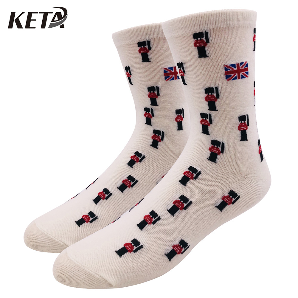 KETA Fashion Brand Men Funny Socks Male Casual Colorful Cotton Happy Socks For Man Crew Dress Business Socks Harajuku Sox