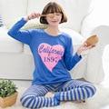 Mulheres Lady 2016 Primavera Outono conjuntos De Pijama De Seda Leite AMOR Sono camisas Coreano Pijamas Meninas lazer algodão sleepwear treino