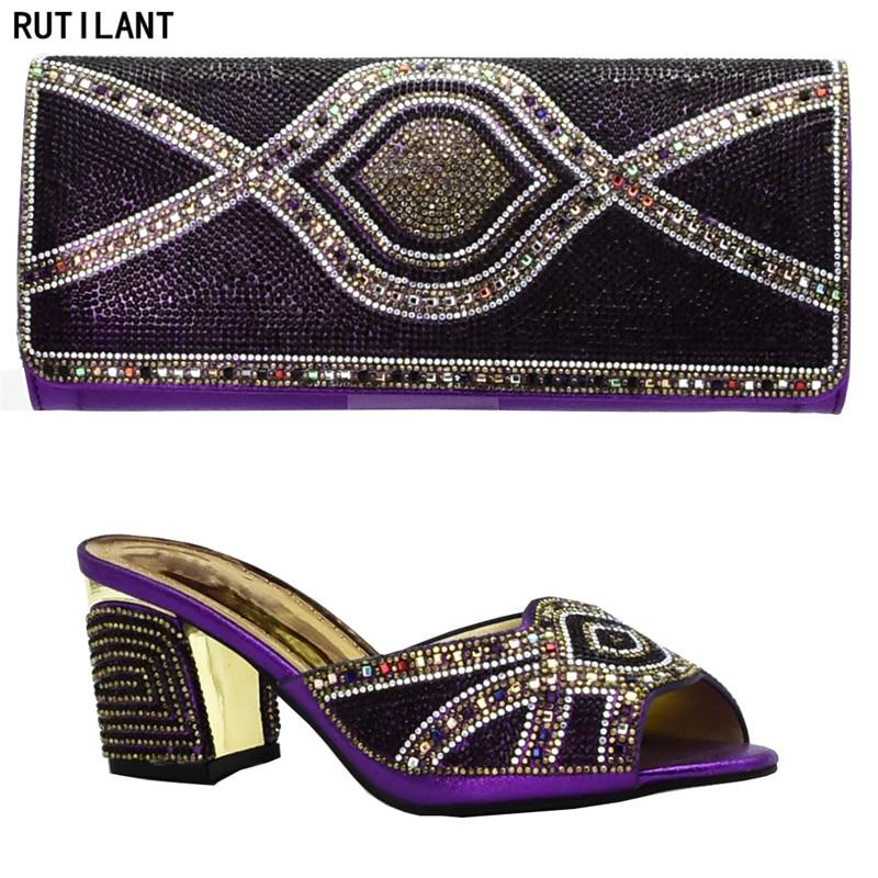 Noir Italie Décoré purple De Dernières 2019 Mode Sac Mariage bleu or Ensemble Et Femmes Strass Chaussures Avec red Mis En Nigérian 3Rj5A4L