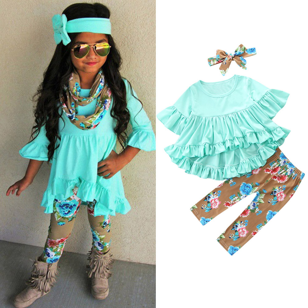 3Pcs Toddler Kids Baby Girls Outfits Irregular Top Dress Floral Print Pants Set