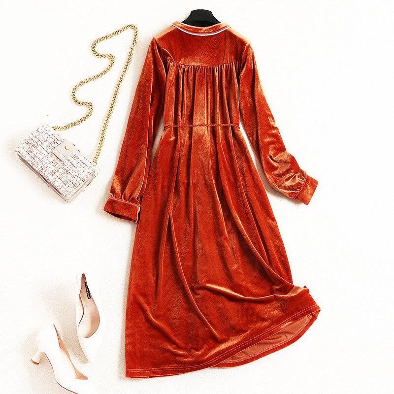 Belle Ceintures Midi Sont Shuchan Robes Pour Indie veau Orange Mid Femme  Robe Velours Femmes De ... 42739560e05