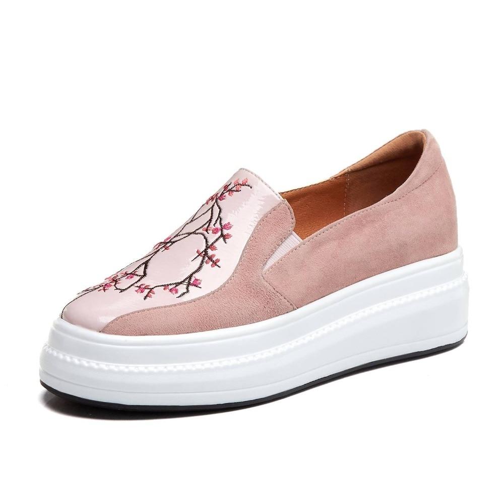 L91 Concise Noir On Fleurs Suede rose Fond British Style Slip Vulcanisées Pot Chaussures Krazing Mocassins Épais Broderie Kid Patchwork A4cjL5R3q