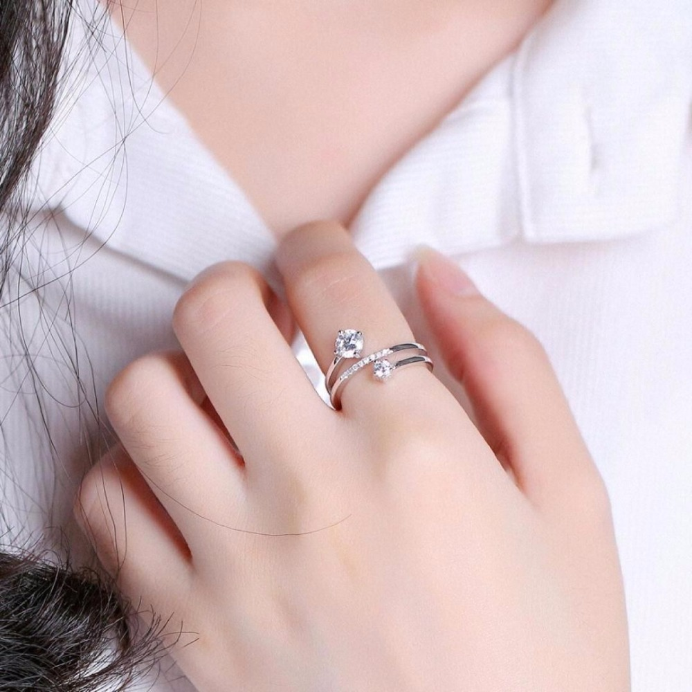 Temperament Multilayer Zirconia 925 Sterling Silver Rings for Women Adjustable Size Ring Fashion sterling-silver-jewelry mariposa en plata anillo