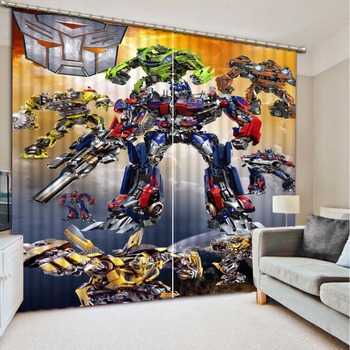Custom any size Blackout Shade Window Curtains Cartoon Robot Curtain Decoration Window Curtain Living Room