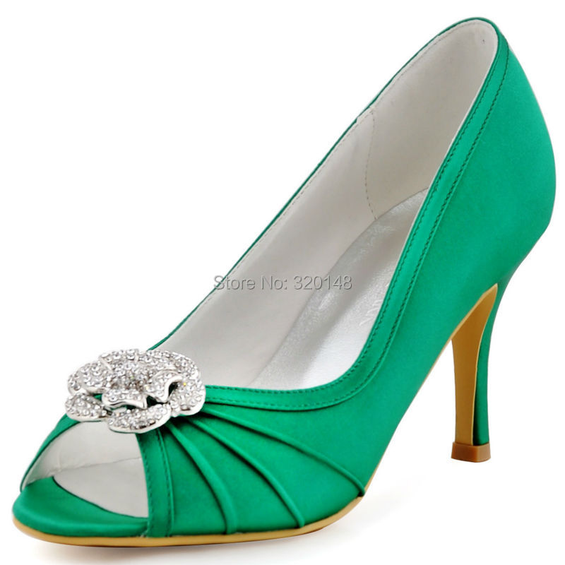 ФОТО Bridesmaid Green High Heel Pumps Rhinestones Clips Satin Women Prom Evening Party Wedding Bridal Shoes EP2094AF Mint Lavender
