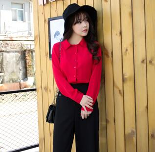 Bow blouses tops tie shirt in front long sleeve chiffon shirt in black and  yellow button up turn down collar office wear WD837-in Blouses   Shirts  from ... 6b4817d3d9f7