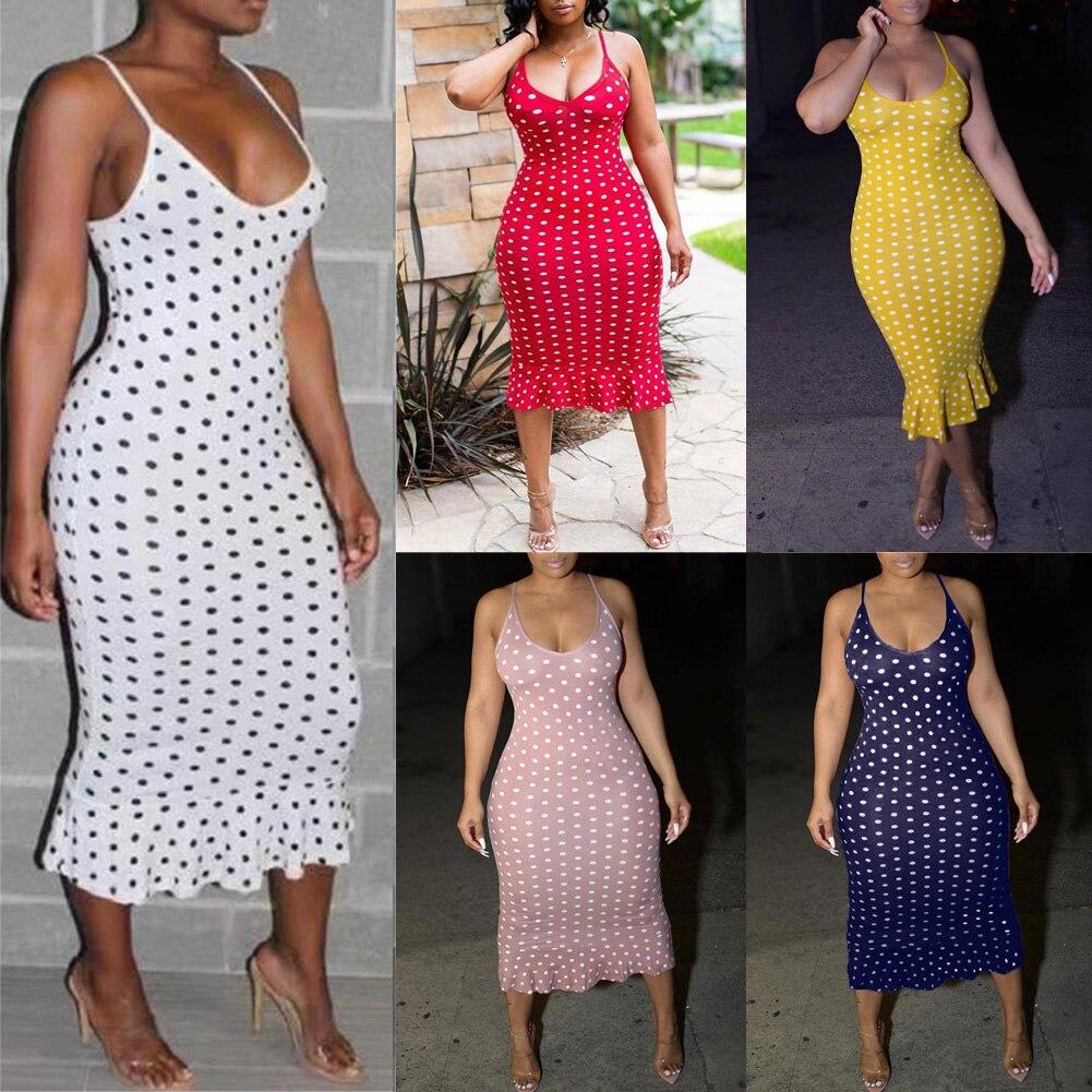 HTB12X TT3HqK1RjSZFEq6AGMXXaF Vintage Women's Polka Dot Sling Sleeveless Backless V-neck High-waist Bodycon Slim Long Dress Lady Summer Casual Dresses S-XXL