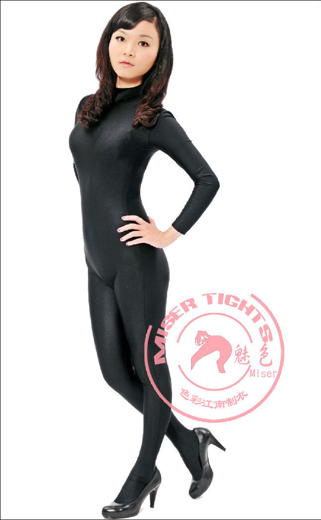 Small High Collar Long Sleeve  Body Conjoined Lycra Tights Body Shaping  Clothing Leotard Costumes tights