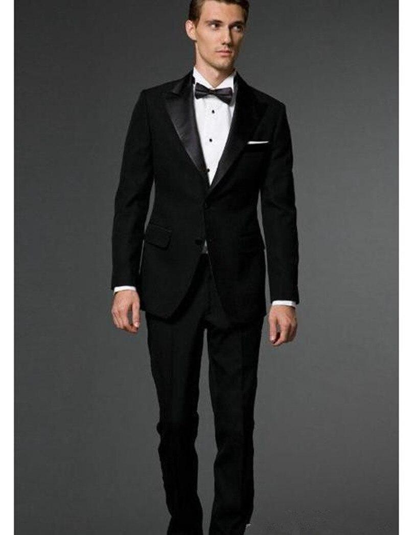 Tuxedo Black Groom Suit Sim Fit Custom Made Suits Groom Wear High