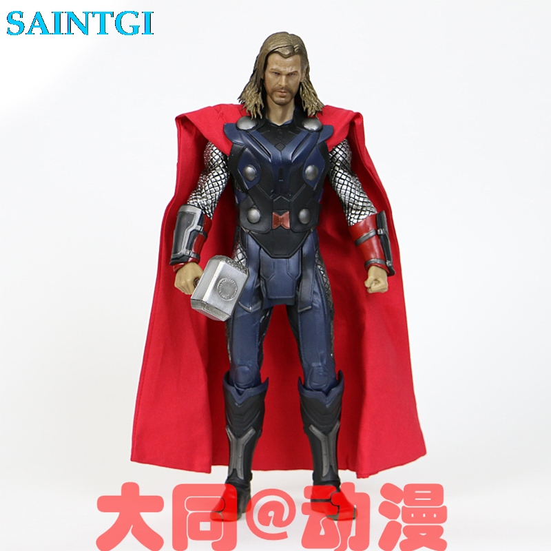 SAINTGI  Avengers 2 Action Figures Hot Toys Super Hero Marvel Thor 30cm Model Gift Mjolnir Garage Brinquedos PVC 30CM Collection
