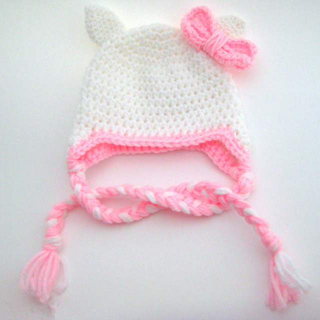 59cc4d6a90f72 US $9.55 |Lovely White Pink Kitty Cat Hat,Handmade Knit Crochet Baby Girl  Animal Earflap Hat,Child Winter Hat,Kids Toddler Photo Prop-in Hats & Caps  ...
