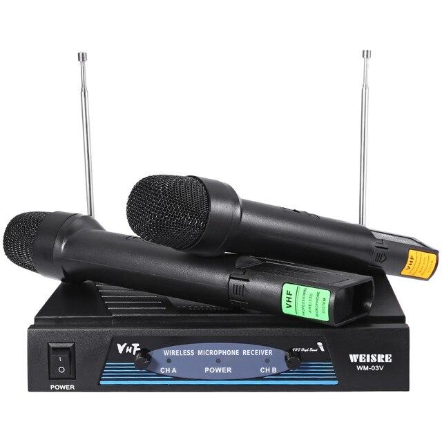 2017 Новый Профессиональный 220-270 МГц Караоке Беспроводной Ручной Передатчик УКВ Микрофон Набор ЕС Plug
