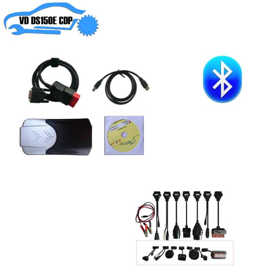 TCS CDP PRO plus NEW VCI new box 2015R3 keygen delphis vd ds150e cdp bluetooth + 8pcs full set car cable for autocoms cdp pro цена