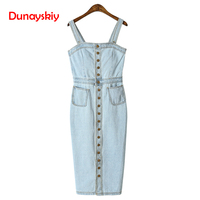 2019 Summer Spring Women Denim Dress Sundress Overalls Dress Vintage Blue Sexy Female Jeans Dress Knee Length Button Fashion
