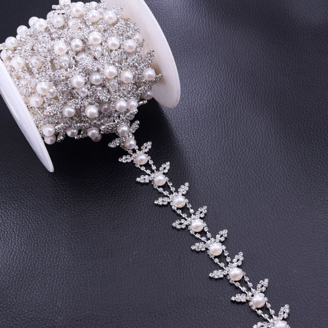 DIY 5Yards White Pearl Bridal belt appliques chian Crystal Rhinestone Trim  Handmade Wedding dress Accessories Sew on Patches d4e97763550a