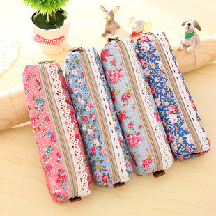 Fresh Style Lace Fringe Little Flowers Multi-Function Zipper Pencil Holder Bag Gift Stationery