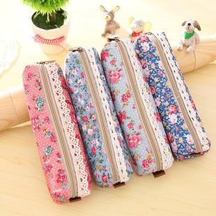 Fresh Style Lace Fringe Little Flowers Multi-Function Zipper Pencil Holder Bag Gift Stationery