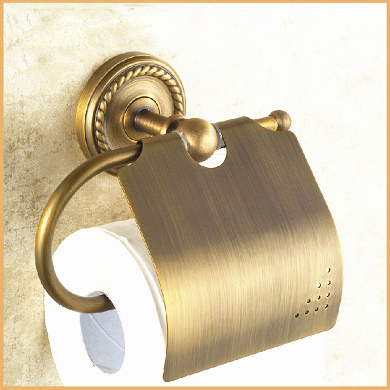 Retro Style Wall Mounted Bathroom Toilet Paper Holder Antique Brass Roll Tissue Box Holders WC free shipping wall mounted black brass toilet paper holder ceramic tissue box bathroom accessory toilet paper holder bracket087