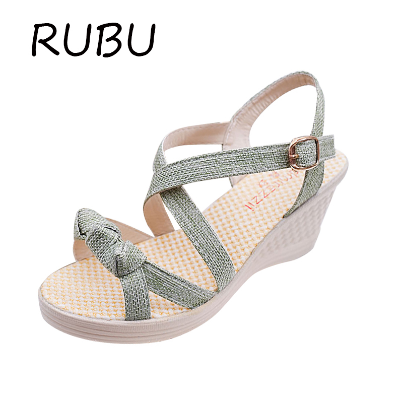 Women Platform Sandals Buckle Wedge Bowtie Shoes Woman Gladiator Sandals High Heels Wedge Casual Ladies Summer Shoes Size 35-41 phyanic 2017 gladiator sandals gold silver shoes woman summer platform wedges glitters creepers casual women shoes phy3323