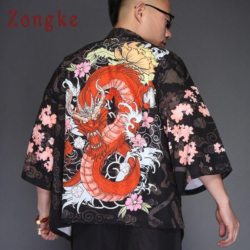 Zongke Japanese Kimono Cardigan Men Dragon Print Long Kimono Cardigan Men Black Mens Kimono Cardigan Jacket 2018 Summer