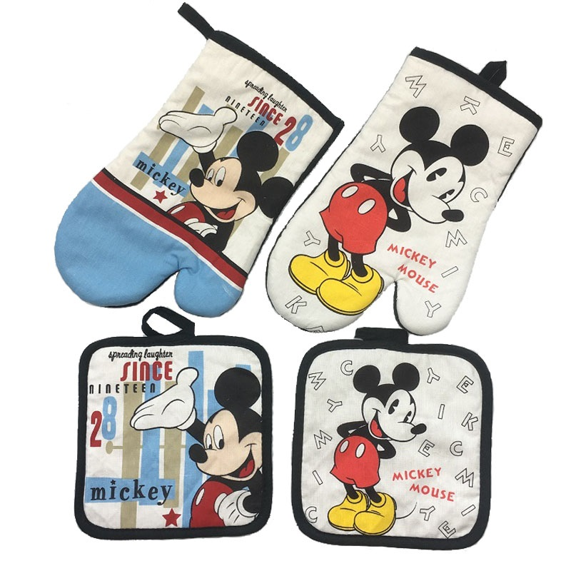 Mickey Mouse Microwave Glove Potholder Bakeware Blue and White 100% Cotton Oven Mitts and mat Potholder untuk BBQ atau Dapur
