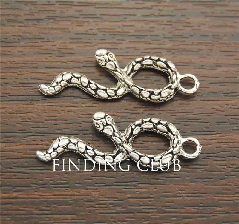 30 Pcs Zilver Kleur Metal Alloy Snake Charm Hangers Voor Sieraden Ketting Maken Diy Craft Handgemaakte A1257