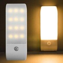 Инфракрасный датчик движения из PIR USB Перезаряжаемый 12 светодиодный ночник, индуксветильник светильник для коридора, чулана, гардероба, светодиодный ночник USB