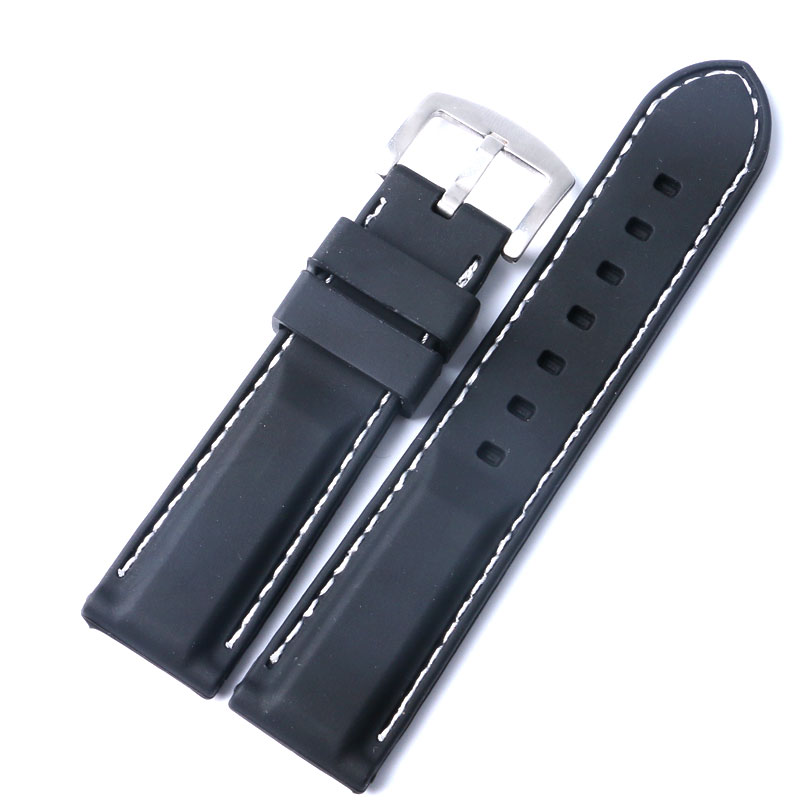 10 pcs Black Silicone Rubber Bracelet White Line Stitching Waterproof 22/24mm Watch Strap Band Sport Soft Replacement