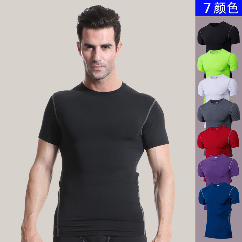 man body-hugging exercise T-shirt. Running short sleeves. 1003