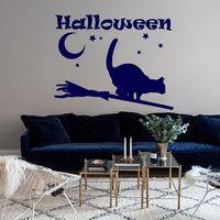 Halloween Wall Decals Cat Decal Vinyl Moon Sticker Nursery Bedroom Decor