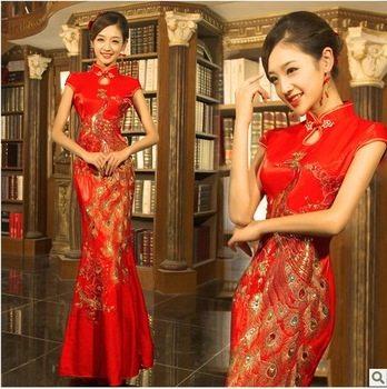 cheongsam wedding dress fishtail red modern chinese traditional dress long  cheongsam red phoenix plus size lace 644e55711eb0