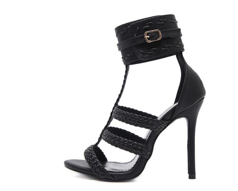 Extérieur Noir Sandales Talons Chaussures Femmes Tissé Kncokar révélant Romain À Commerce Pompes Style Hauts Bout De 6bygf7
