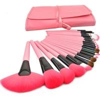 24 pcs Rosa Maquiagem Facial Escova Kit Ferramentas da Composição Cosméticos E Escovas Com Caixa de Maquiagem Pincéis de Maquiagem