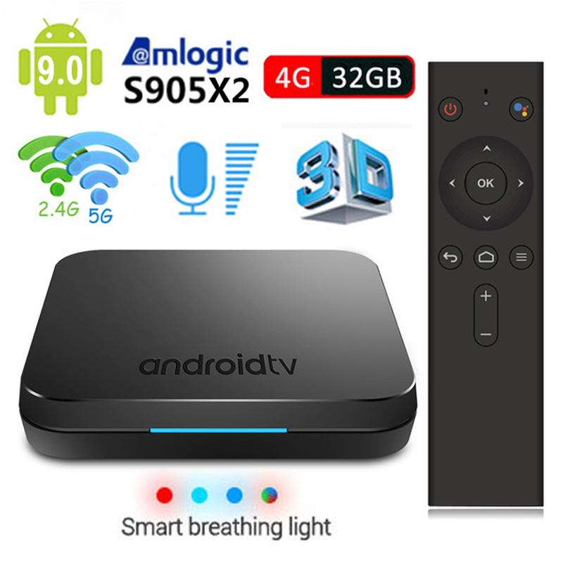 MECOOL KM9 Android 9.0 TV Box Voice Remote Control Amlogic S905X2 4GB 32GB Bluetooth 4.1 4K Dual Wifi Media Player Set Top Box