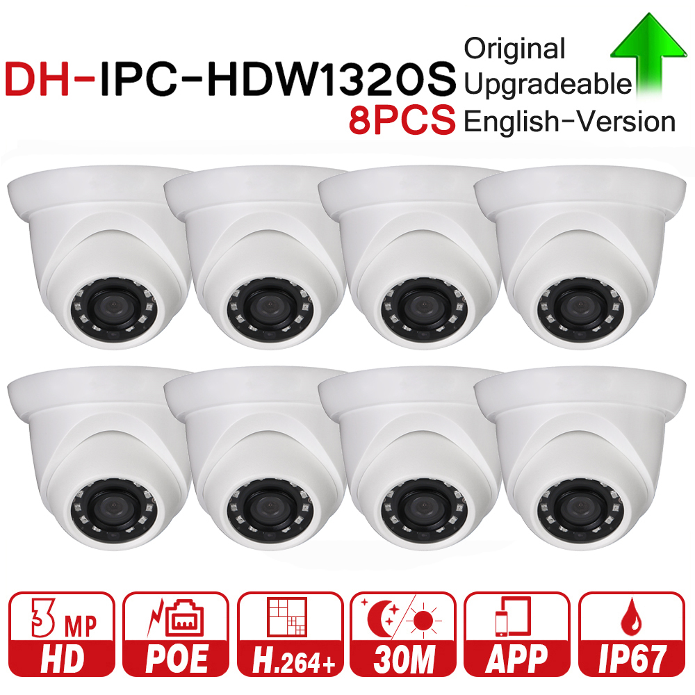 цена на DH Original IPC-HDW1320S 3MP Mini Dome IP Camera Day/Night Infrared CCTV Camera Updatable POE IP67 Security Camera 8pcs/lot
