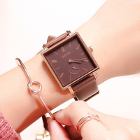 Waterproof Women Square Watches dress match watch wrist watch with Leather Belts