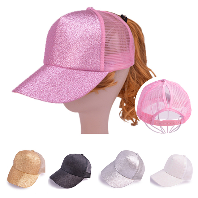 de4ac3dfd93 New Ponytail Baseball Cap Women Girls Messy Bun Baseball Hat Glitter Mesh  Breathable Adjustable Caps