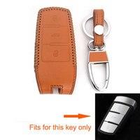 BBQ @ FUKA Brown Leather 3 Buttons Từ Xa Key Fob Chủ Shell Bìa Case Cho VW Passat CC Magotan