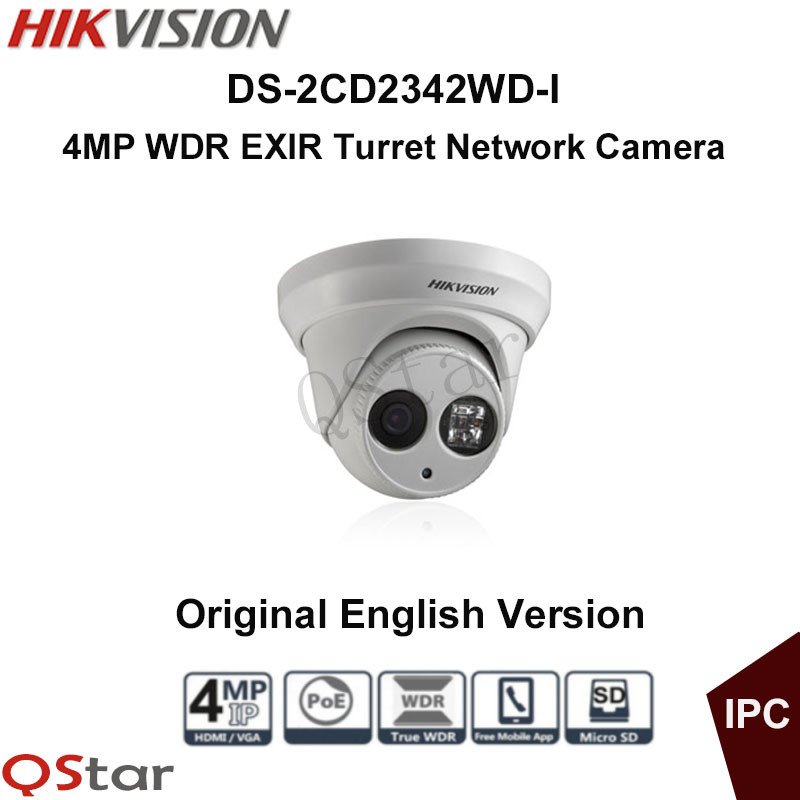 Hikvision Original English Surveillance Camera DS-2CD2342WD-I 4MP WDR EXIR IP Camera 1080p onvif POE Security Camera CCTV Camera hikvision cctv poe 4mp camera ds 2cd3345 i hd night version onvif exir turret wdr dome ip security camera replace ds 2cd2345 i