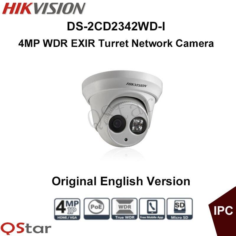 Hikvision Original English Version Surveillance Camera DS-2CD2342WD-I 4MP WDR EXIR IP Camera POE Security Camera CCTV Camera 2016 hikvision new arrive english version ip camera ds 2cd2t52 i5 5mp cctv camera 50m ir surveillance camera