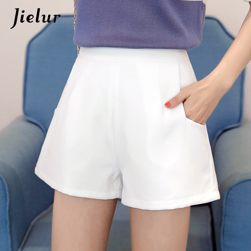 Jielur Elegant Shorts Kpop Chiffon White Female Summer Women Bottom Black Soft Beading