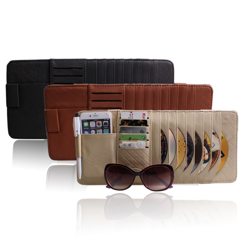 fashion sun visor sun glasses case organizer for pen clip 8pcs disc cd name card visa card. Black Bedroom Furniture Sets. Home Design Ideas